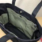 「ポケットトート」通勤トート「ブラック×オリーブ」のトートバッグ作りました。