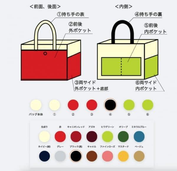 生成り×赤×ブラック×ヒワグリーン